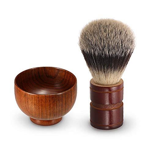 Anself Men's Shaving Set,Wooden Shaving Soap Bowl +Wooden Shaving Brush,for Men's Daily Cleaning