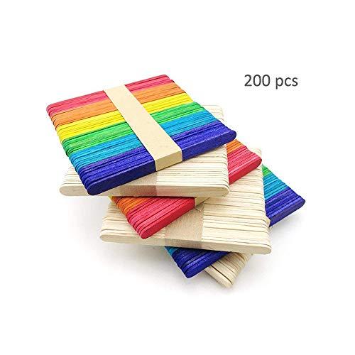 200 Pcs Colored Craft Sticks Ice Cream Sticks 4-1/2
