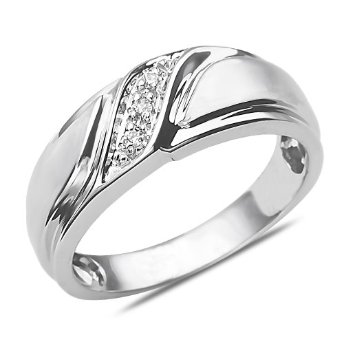Men's Diamond Accent Wedding Band 10k White Gold