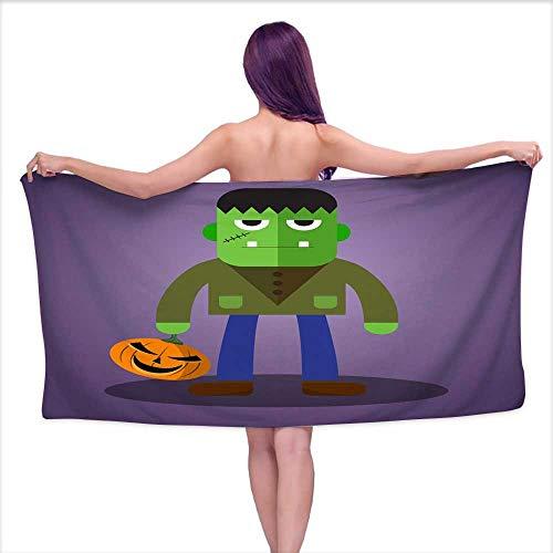 Extra Long Bath Towel Frankenstein Cute Halloween Character,W12 xL35 for Men -