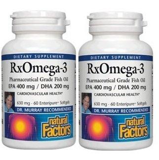 【2本セット】【海外直送品】Natural Factors - RxOmega-3 Factors EPA 400 mg/DHA 200 mg - 60ソフトジェル B01HKKIZTA