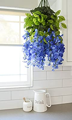 Artificial Wisteria Long Hanging Bush Flowers - 15 Stems For Home, Wedding, Restaurant and Office Decoration Arrangement