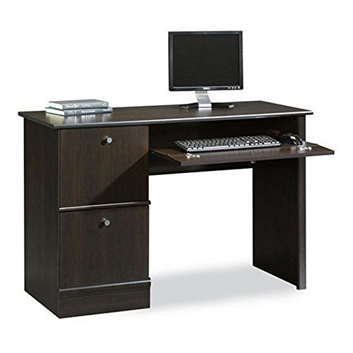Computer Desk with Classic Style Sauder Down to Basic Writing for Home Office Includes Enclosed Storage, File Drawers and Keyboard Tray, Cinnamon Cherry Finish