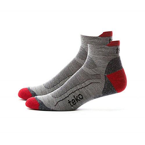 Teko Men's Sin3rgi Organic Merino Wool Light Minicrew Casual, Walking and Hiking Socks, Gray/Brick, X-Large