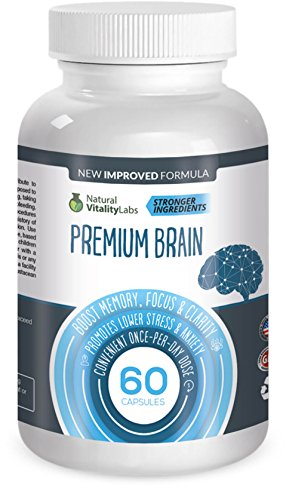 Premium Brain Boosts Memory, Focus, Clarity 60 Capsules. Soothes Stress, Anxiety. Stronger Natural Ingredients Ginko Biloba, St. John's Wart, Glutamine, Bacopin. Made in USA