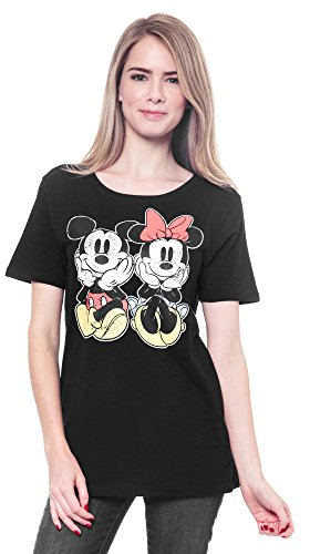 Mickey-Minnie-Mouse-Womans-T-Shirt-Distressed-Graphic-Print