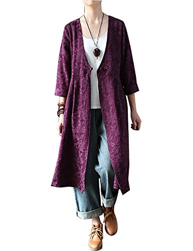 IDEALSANXUN Womens Thick Cotton Jacquard Collarless Deep V-Neck Button Closure Long Shirt Dress Outwear (US 2-10, 1 Purple)