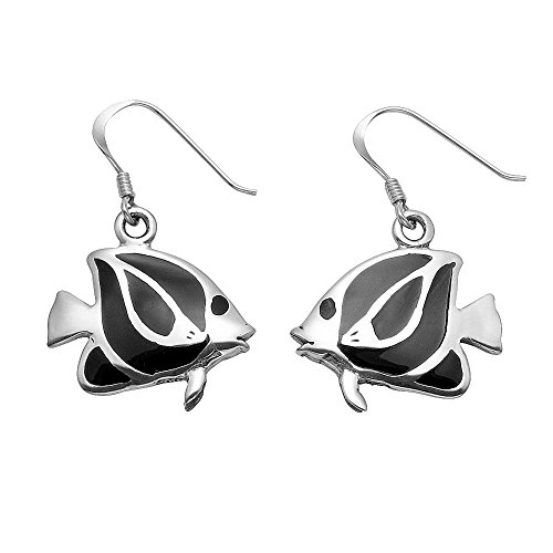 - Sterling Silver Humbug Fish Wire Earrings w/Simulated Black Onyx