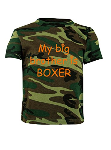 My Big Brother Is Boxer Camo Toddler T-Shirt Tee Green Woodland - Woodland Camouflage Boxers