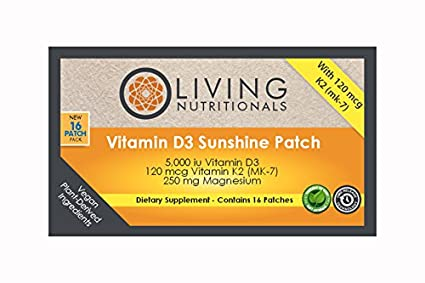 Living Nutritionals: Vitamina D3 5000Iu Parches de Sol (16 parches)