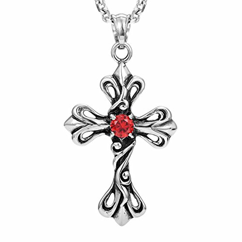 Vintage Royalty Celtic Shield Cross Necklace Cubic Zirconia Pendant (Silver (Red Celtic Cross)