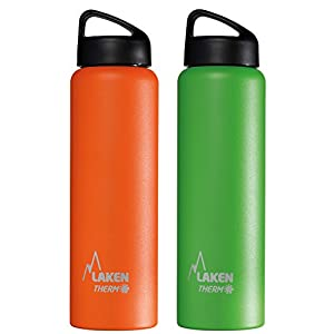 Laken Bundle - Thermo Classic Vacuum Insulated Stainless Steel Wide Mouth Water Bottle with Screw Cap, 34 Oz, 2-Pack Orange and Green