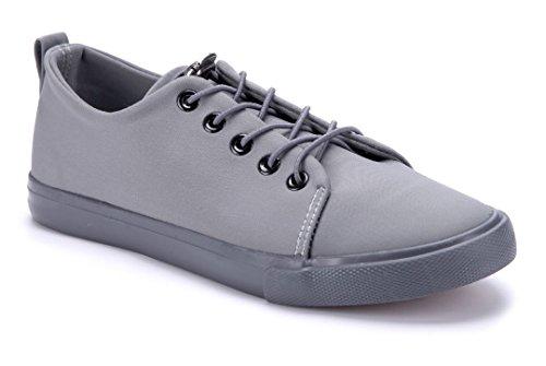 Schuhtempel24 Damen Schuhe Low Sneaker Flach Grau