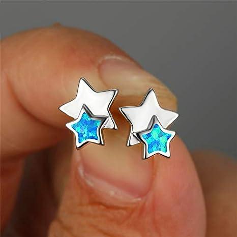 NOBRAND Pendientes Mujer Plata De Ley 925 Pendientes De Botón Pendientes De Ópalo De Fuego Azul Blanco para Mujeres 925 Pendientes De Plata De Joyería