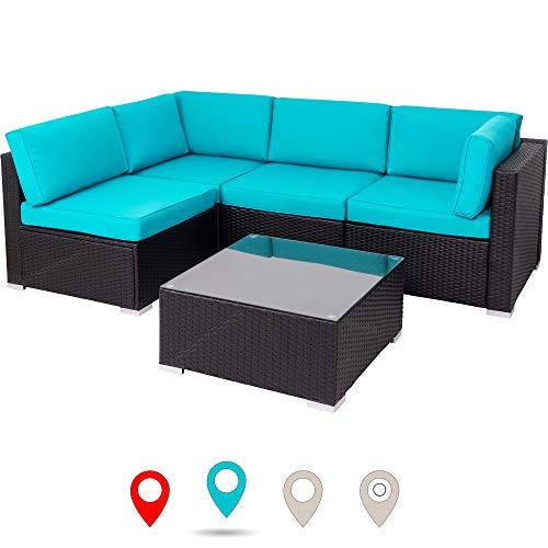 Walsunny Outdoor Black Rattan Sectional Sofa- Patio Wicker Furniture Set Conversation Sets with Tea Table&Washable Couch Cushions (Blue) (Wicker Patio Set)