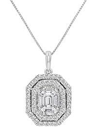IGI Certified 7/8ct TW Fancy Emerald Cut Diamond Pendant-Necklace in 14K White Gold