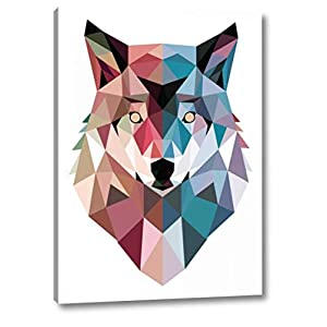 """Geo Wolf by Michael Buxton - 29"""" x 40"""" Gallery Wrapped Giclee Art Print on Canvas - Ready to Hang"""