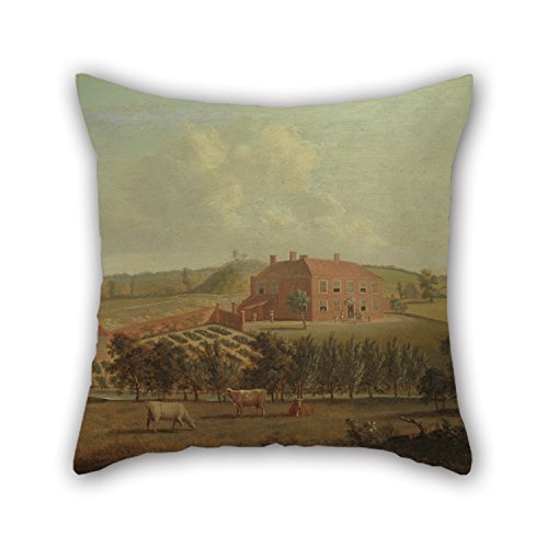 Artistdecor The Oil Painting Dominic Serres - Saint Vincents, Near West Malling, Kent Pillow Covers Of ,16 X 16 Inches / 40 By 40 Cm Decoration,gift For Wife,father,dining (Pink Paisley Monkey)