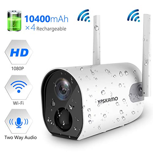Wireless Outdoor Security Camera, 10400mAh Rechargeable Battery Powered WiFi Camera YESKAMO 1080P Surveillance Camera for Home Security Wire Free Battery Camera Dual Antenna Motion Dection 2 Way Audio