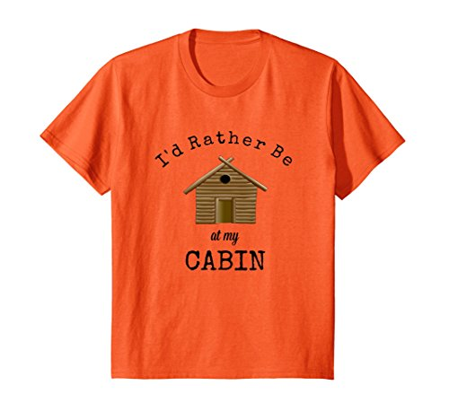Kids Camping Shirt Fun Outdoor Recreation Log Cabin Escape 8 Orange ()