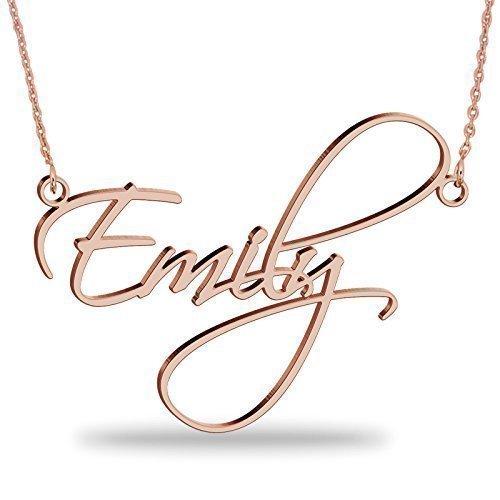 orologio 1a26e eec47 Collana con nome personalizzato in argento 925 placcato oro Rosa 18K