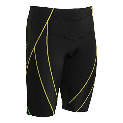 (CW-X Men's Endurance Generator Shorts, Black/Green/Yellow, Medium)