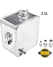 HTRACING Water Coolant Expansion Tank Radiator Overflow Tank Coolant Reservoir Tank Aluminum Radiator Catch Can Complete Header Kit Universal Silver 2.5L