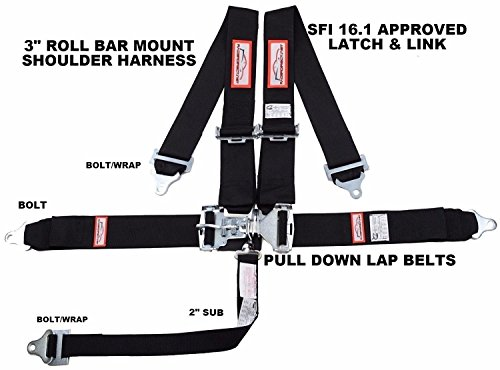 "Black Race CAR Harness 5 Point SFI 16.1 Racing Latch & Link 3"" ROLL BAR Mount Bolt in"