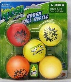 Koosh Ball Refill 5 Pack, Red/Orange with Assorted Face Ball (Koosh Gun)