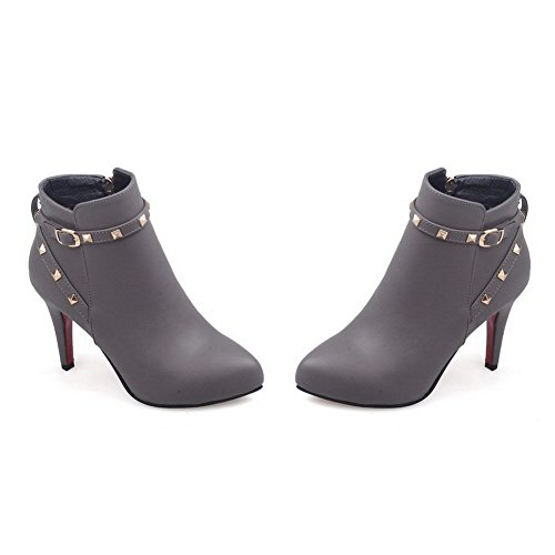 Soft top Material Low Gray Boots Solid AmoonyFashion Women's Heels Zipper High qtwY14P