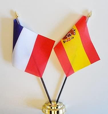 Francia y España Amistad Bandera de mesa pantalla 25 cm (10 ...