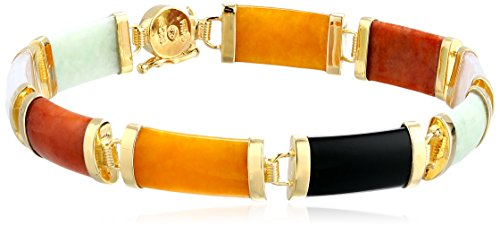 Onyx Rectangular Bracelets (18k Yellow Gold Over Sterling Silver Multi-Colored Jade and Black Onyx Noodle Link Bracelet, 7.25