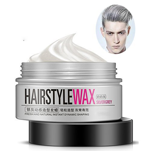 MS.DEAR Fresh and Natural Hairstyle Wax Hair Styling Clay Hair Mud Water Gel Hair Modelling Cream 3.52 Ounce (Silver Grey) -