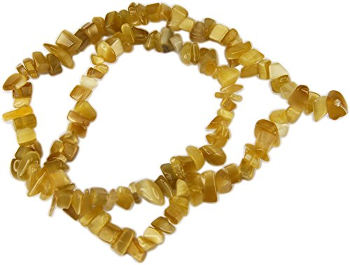 Beads, Cat's Eye Fiber Optic Khaki Colored Chips - 15