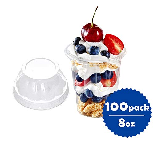 OTOR 8oz Clear Plastic Ice Cream Cups with Dome Lid, Parfait Cup - 100 Count