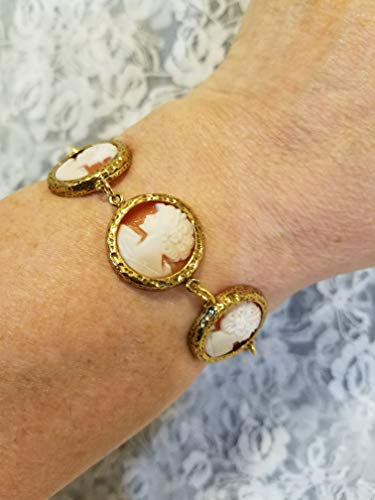 (Victorian Style Cameo Bracelet Real Carved Shell Carnelian)