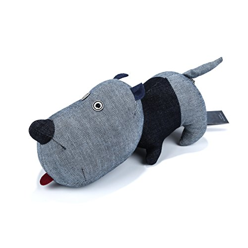 Cowlture 11.8 Handmade Unique Denim Dog Plush Stuffed Animal with Red Tongue Gift for Lover