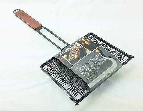 Mikash Meatball Grill Basket Nonstick with Rosewood Handle QD86 Holds 12 | Model GRLLST - 195