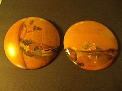 Two Mrytle Wood Round Wall Plaques with Hand Painted Country Scenes ()