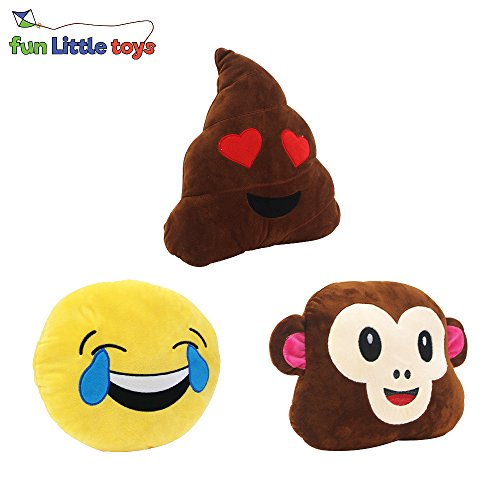 Fun Little Toys 12.5 Inches Emoji Poop Love Smiley Emotion Face Monkey Stuffed Plush Soft Cushion Pillow Set of 3