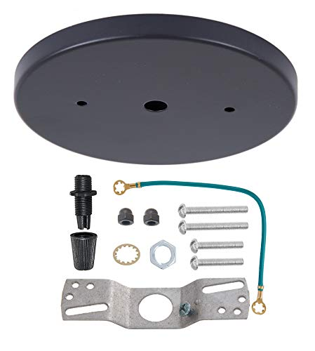 B&P Lamp 5 1/4 Inch Modern Shallow Steel Canopy Kit - Lamp Hardware Kit