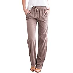 Geckatte Womens Linen Pants Comfy Elastic Waist Drawstring Loose Long Pants with Pockets