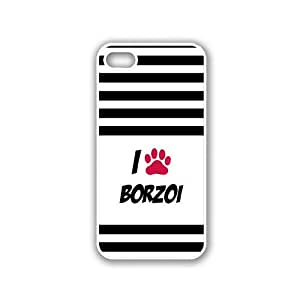 Stripes I Love Heart Paw Borzoi White iPhone 5 & 5S Case - Fits iPhone 5 & 5S