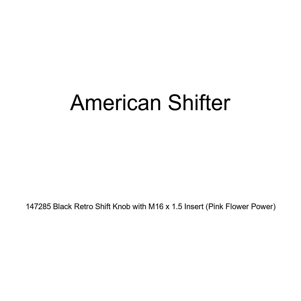 American Shifter 147285 Black Retro Shift Knob with M16 x 1.5 Insert Pink Flower Power