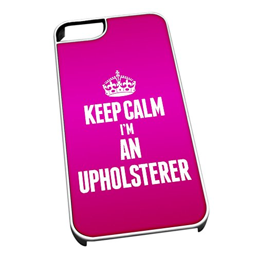 Bianco cover per iPhone 5/5S 2704 rosa Keep Calm I m An Upholsterer