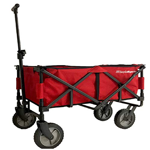 EasyGoWagon 2.0 - Red Folding Wagon - Collapsible Heavy Duty Utility Pull Wagon - Fits in Trunk of Standard Car