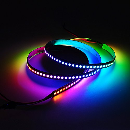 BTF-LIGHTING WS2812B 144 leds/pixels/m Black PCB Individual Addressable Full Color led pixel strip Dream Color Non-waterproof 3.2FT 1m
