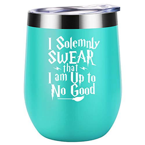 I Solemnly Swear that I Am up to No Good - HP Marauders Map Fans Merchandise Birthday, Christmas Wine Gifts Idea for Women, Mom, Best Friend, BFF, Sister, Wife, Coworker - Coolife Wine Tumbler Cup (Good Best Friend Christmas Gift Ideas)