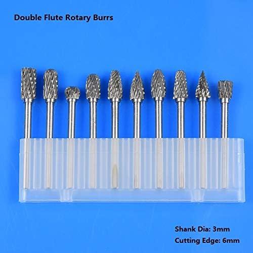 GENERICS LSB-Werkzeuge, 10 Stück Doppelverzahnten Hartmetall Frässtifte-Satz for DREME Zubehör Rotary Files (Farbe : 1Box 3x6 Double Cut)