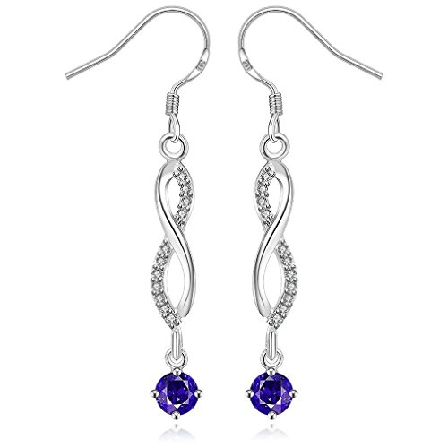 fonk: new silver plated earing Inlaid Blue Stone drop pendientes collier plastron femme HBE006